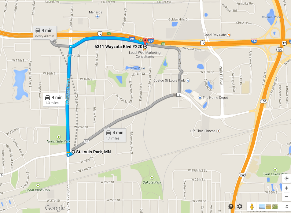 directions from St. Louis Park
